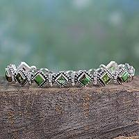 Peridot tennis bracelet, 'Bollywood Forest' - India Sterling Silver Tennis Bracelet Turquoise and Peridot
