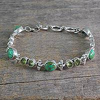 Peridot link bracelet, 'Green Glow' - Peridot and Reconstituted Turquoise Silver Link Bracelet