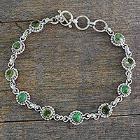 Peridot link bracelet, 'Petite Flowers' - Sterling Silver Peridot and Composite Turquoise Bracelet