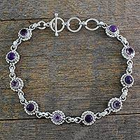 Amethyst link bracelet, 'Petite Flowers' - Amethyst Sterling Silver and Composite Turquoise Bracelet
