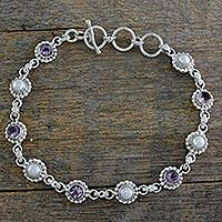 Cultured pearl and amethyst link bracelet, 'Petite Flowers' - Sterling Silver Amethyst and Cultured Pearl Bracelet