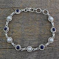 Cultured pearl and lapis lazuli link bracelet, 'Petite Flowers' - Cultured Pearl Floral Bracelet in Silver with Lapis Lazuli