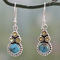 Citrine dangle earrings, 'Petite Flowers' - Indian Sterling Silver Earrings with Citrine and Turquoise