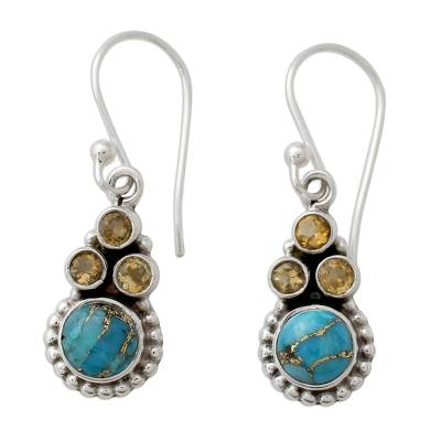 Indian Sterling Silver Earrings with Citrine and Turquoise