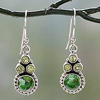 Peridot dangle earrings, 'Petite Flowers' - Sterling Silver Peridot Earrings with Composite Turquoise