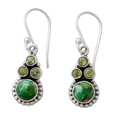 Sterling Silver Peridot Earrings with Composite Turquoise