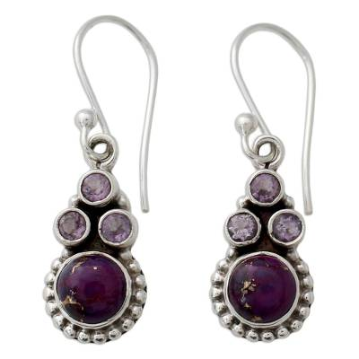 Amethyst Sterling Silver Earrings with Composite Turquoise