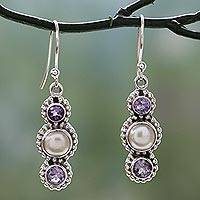 Cultured pearl and amethyst dangle earrings, 'Petite Floral Trio' - Sterling Silver Amethyst and Cultured Pearl Earrings