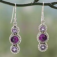 Amethyst dangle earrings, 'Dream in Purple' - Sterling Silver and Amethyst Dangle Earrings from India