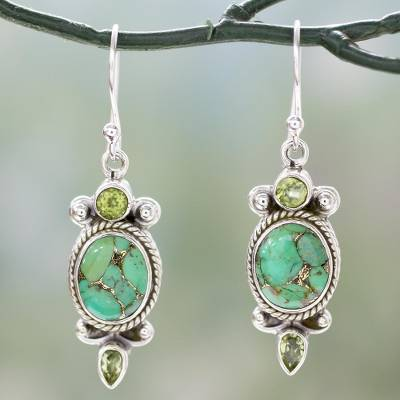 Peridot dangle earrings, 'Resplendent in Green' - Green Gemstone Earrings in Sterling Silver from India