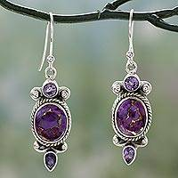 Amethyst dangle earrings, 'Resplendent in Purple' - Indian Amethyst Dangle Earrings in Sterling Silver Settings