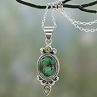 Peridot pendant necklace, 'Resplendent in Green' - Pendant Necklace with Peridot and Composite Turquoise
