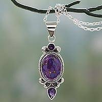 Amethyst pendant necklace, 'Resplendent in Purple' - Purple Turquoise and Amethyst Pendant Necklace from India