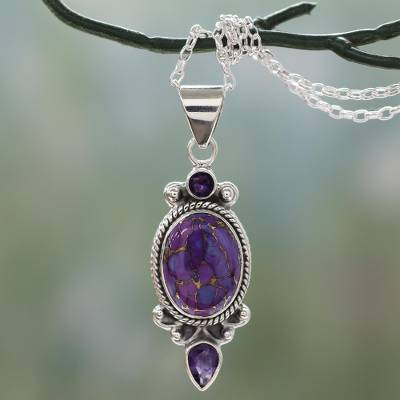 Purple Turquoise and Amethyst Pendant Necklace from India