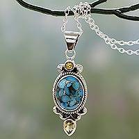 Citrine pendant necklace, 'Resplendent in Blue' - Silver Pendant Necklace with Citrine and Composite Turquoise
