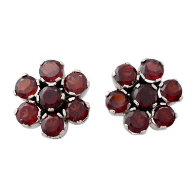 Artisan Crafted Floral Button Earrings with Garnet