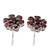 Garnet button earrings, 'Romantic Blossom' - Artisan Crafted Floral Button Earrings with Garnet (image 2b) thumbail