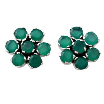 Hand Crafted Onyx and Sterling Silver Floral Button Earrings