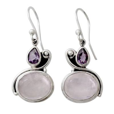Hand Crafted Moonstone and Amethyst Dangle Earrings