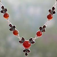 Garnet and carnelian pendant necklace, 'Rosy Blossom' - Hand Crafted Carnelian and Garnet Sterling Silver Necklace