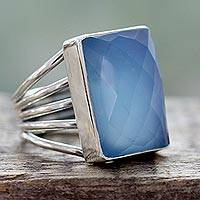 Chalcedony cocktail ring, 'Sky Reflection' - Artisan Crafted Chalcedony and Sterling Silver Cocktail Ring