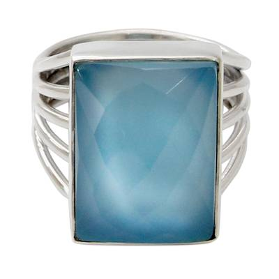 Artisan Crafted Chalcedony and Sterling Silver Cocktail Ring