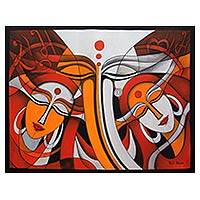 'Ganesha Family' - Original Acrylic on Canvas Painting of Ganesha in Orange Red