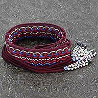 Beaded cotton tie belt, 'Beautiful in Burgundy' - Indian Embroidered Cotton Burgundy Tie Belt with Beads