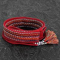 Beaded cotton tie belt, 'Crimson Color' - Red Embroidered Cotton Tie Belt with Beads from India