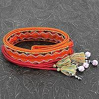 Beaded cotton tie belt, 'Trendy Tangerine' - Orange Embroidered Cotton Tie Belt with Tassels and Beads