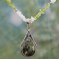 Multi-gemstone pendant necklace, 'Summer Ecstasy' - Handcrafted India Gemstone Necklace with Sterling Silver