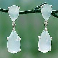 Chalcedony dangle earrings, 'Aqua Brilliance' - Indian Aqua Chalcedony and Sterling Silver Dangle Earrings