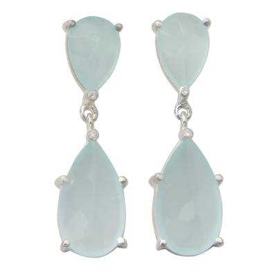 Indian Aqua Chalcedony and Sterling Silver Dangle Earrings