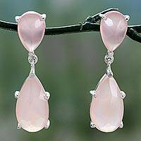 Chalcedony dangle earrings, 'Pink Brilliance' - Sterling Silver Dangle Earrings with Pink Chalcedony and CZ