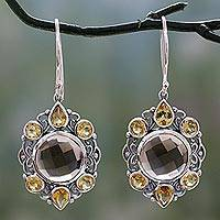 Smoky quartz and citrine dangle earrings, 'Royal Consort' - Ornate Silver Earrings with Smoky Quartz and Citrine