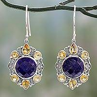 Lapis lazuli and citrine dangle earrings, 'Royal Consort' - Lapis Lazuli and Citrine Dangle Style Earrings in 925 Silver