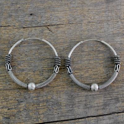 Indian Endless Hoop Style Earrings in 925 Sterling Silver, 'Ancient Mughal'