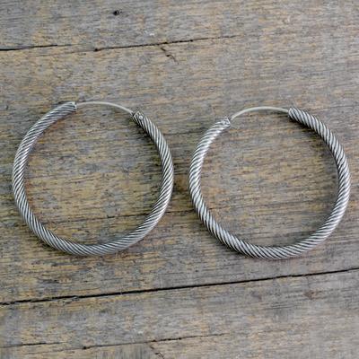 a044fe8af UNICEF Market | Indian Twist Design Sterling Silver Endless Hoop Earrings -  Timeless Twist