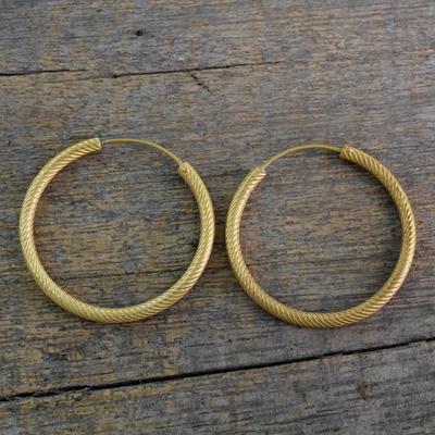 Gold Plated Sterling Silver Hoop Earrings Timeless Twist 22k Yellow