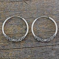 Sterling silver hoop earrings, 'Twist and Turn' - Classic Sterling Silver Hoop Earrings with Wire Accents