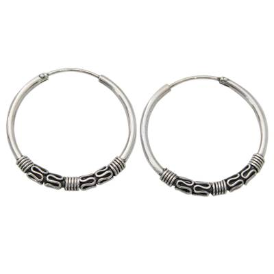 Classic Sterling Silver Hoop Earrings with Wire Accents