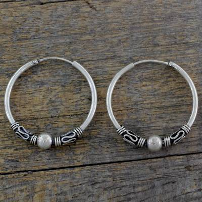 Sterling silver hoop earrings, 'Mughal Memories' - Fair Trade 1.3 Inch Sterling Silver Endless Hoop Earrings
