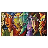 'Dreams & Hope' - Indian Colorful Cubist Style Acrylic Painting of Women