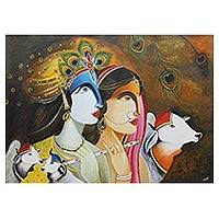 'Music of Life' - Original Indian Acrylic Portrait of Lord Krishna and Radha