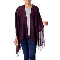 Silk and wool shawl, 'Rich Burgundy' - Artisan Crafted Wool and Silk Shawl with Fringe from India