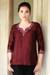 Silk tunic, 'Classy Wine' - Artisan Crafted Embroidered 100% Silk Tunic thumbail