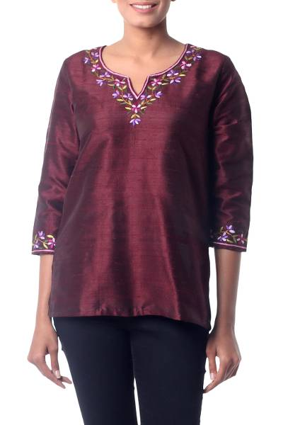 Silk tunic, 'Classy Wine' - Artisan Crafted Embroidered 100% Silk Tunic