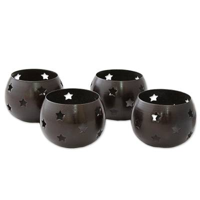 Steel tealight holders, 'Chocolate Stars' (set of 4) - Star Motif Brown Steel Tealight Candleholders (Set of 4)