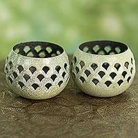 Steel tealight holders, 'Green Jali Lattice' (pair) - Green Steel Lattice Tealight Candleholders (Pair)