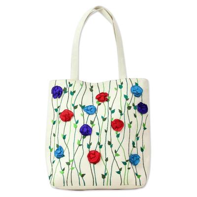 Novica Cotton tote bag, Summer Blooms - Unique Floral Cotton Tote Handbag